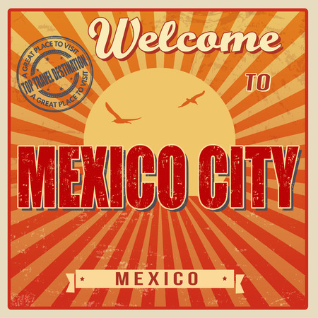 mexico city: Vintage Touristic Welcome Card - Mexico city, Mexico, vector illustration Illustration