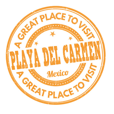 del: Playa del Carmen grunge rubber stamp on white background, vector illustration Illustration