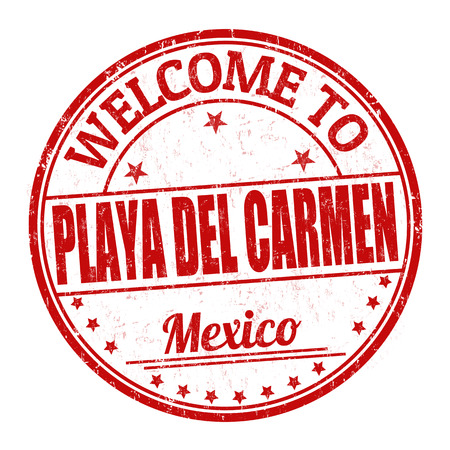 del: Welcome to Playa del Carmen grunge rubber stamp on white background, vector illustration