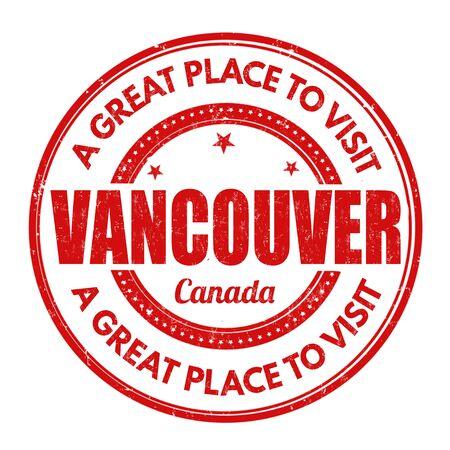 impress: Vancouver grunge timbro di gomma su sfondo bianco, illustrazione vettoriale
