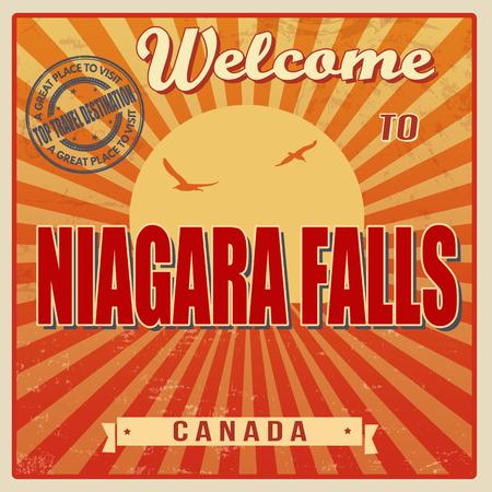 niagara falls city: Vintage Touristic Welcome Card - Niagara Falls, Canada vector illustration Illustration