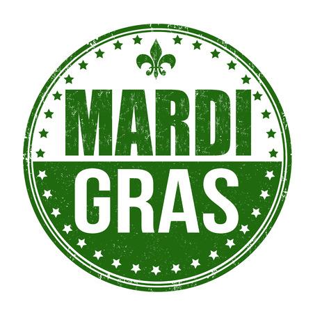 orleans: Mardi Gras grunge rubber stamp on white, vector illustration Illustration