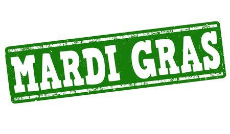 orleans symbol: Mardi Gras grunge rubber stamp on white, vector illustration Illustration