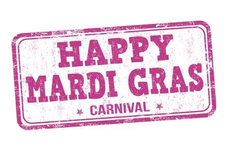 orleans symbol: Happy Mardi Gras grunge rubber stamp on white, vector illustration