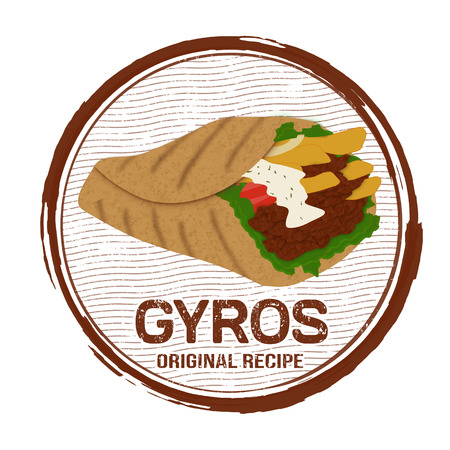 Gyros grunge rubber stamp on white background, vector illustration