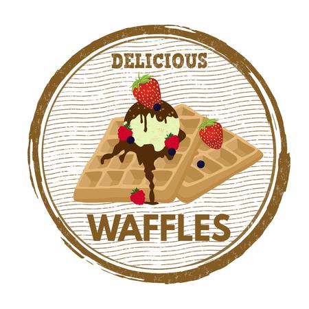 sweet sauce: Waffles grunge rubber stamp on white background, vector illustration Illustration