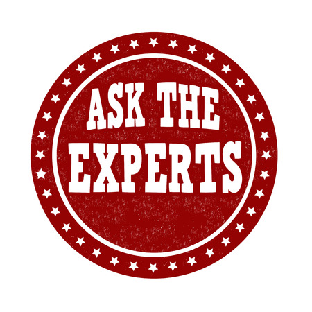 financial questions: Ask the experts grunge rubber stamp on white background, vector illustration