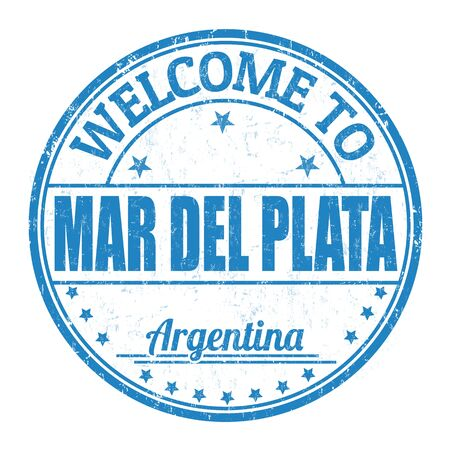 del: Welcome to Mar del Plata grunge rubber stamp on white background, vector illustration Illustration