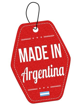 leather label: Made in Argentina red leather label or price tag on white background, vector illustration Illustration