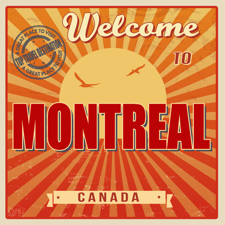 Vintage Touristic Welcome Card - Montreal, Canada, vector illustration Vector