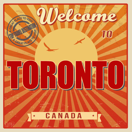 Vintage Touristic Welcome Card - Toronto, Canada, vector illustration Vector