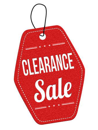 clearance: Clearance sale red leather label or price tag on white background, vector illustration Illustration