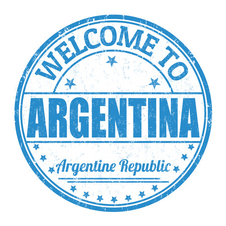 best travel destinations: Welcome to Argentina grunge rubber stamp on white background, vector illustration
