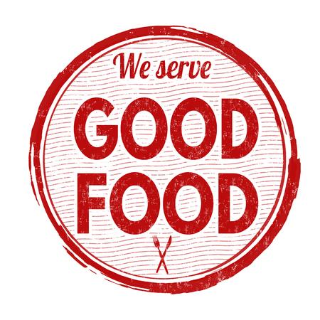 serve: Good food grunge rubber stamp on white background, vector illustration