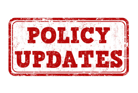 Policy updates grunge rubber stamp on white background, vector illustration