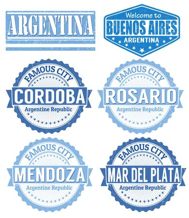 buenos: Set of Argentina cities stamps on white background, vector illustration Illustration