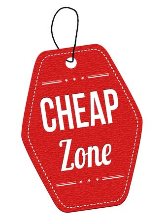 cheap: Cheap zone red leather label or price tag on white background, vector illustration