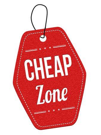 Goedkope zone rood lederen etiket of prijskaartje op een witte achtergrond, vector illustratie