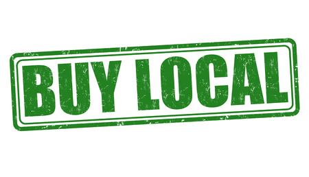 local business: Buy local grunge rubber stamp on white background, vector illustration