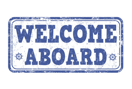 Welcome aboard grunge rubber stamp on white background, vector illustration Illustration
