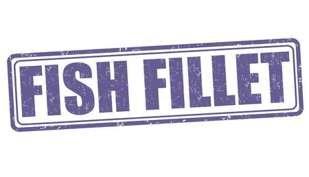 fillet: Fish fillet grunge rubber stamp on white background, vector illustration Illustration