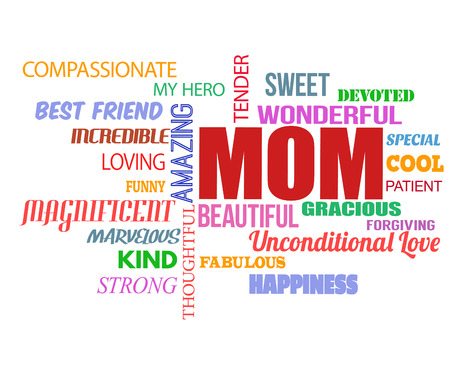unconditional: Mothers Day word cloud on white background, vector illustration