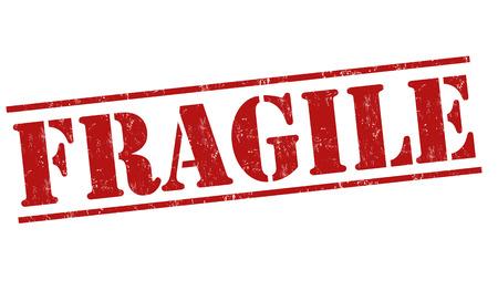 Fragile grunge rubber stempel op een witte achtergrond, vector illustratie