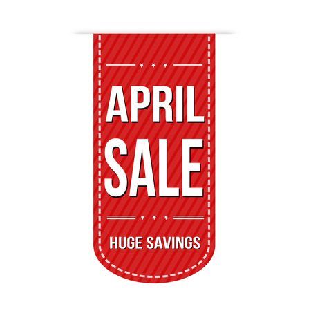 April sale banner design over a white background, vector illustration