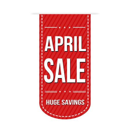 April sale banner design over a white background, vector illustration