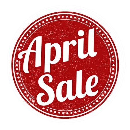 advertised: April sale grunge rubber stamp on white, vector illustration Illustration