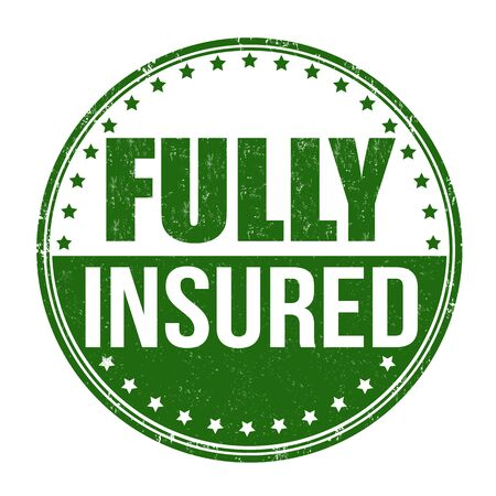 fully: Fully insured grunge rubber stamp on white, vector illustration