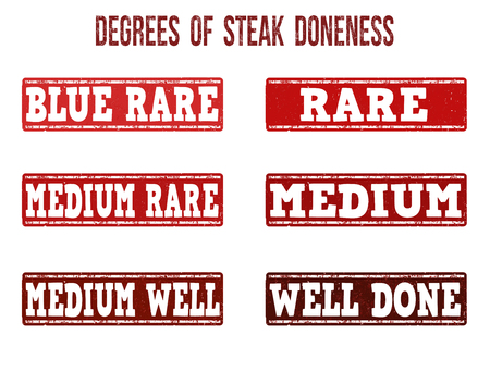 ink well: Degrees of steak doneness grunge rubber stamps on white background, vector illustration Illustration
