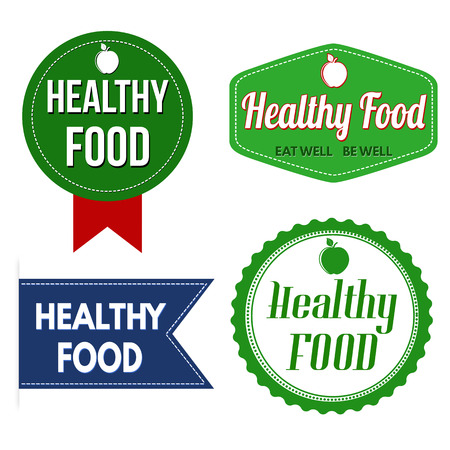 recommendation: Promotional label, sticker or stamps for healthy food on white, vector illustration Illustration