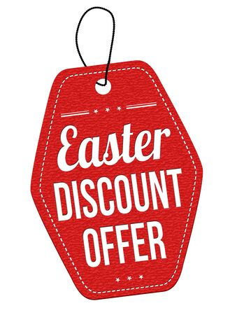 leather label: Easter discount offer leather label or price tag on white background, vector illustration
