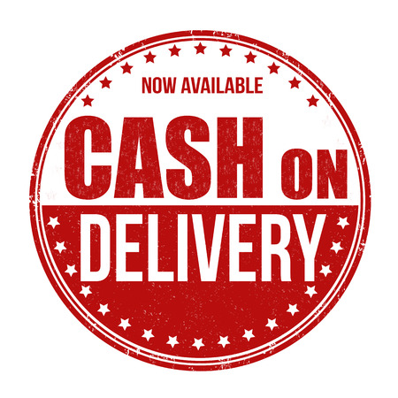 cash icon: Cash on delivery grunge rubber stamp on white background, vector illustration