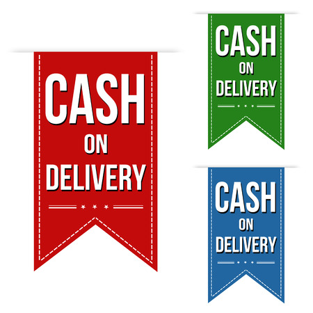 cash: Cash on delivery banner design set over a white background, vector illustration Illustration