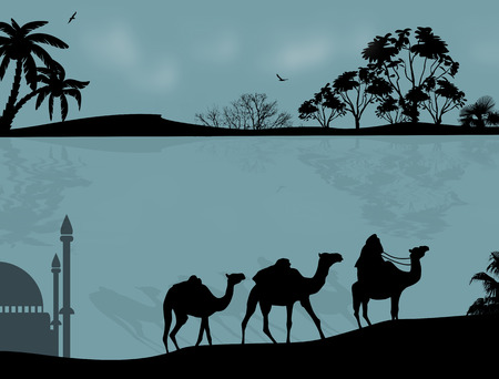 minarets: Abstract background with bedouin riding camel during the blue night , vector illustration Illustration