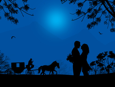 horse cart: Carriage and lovers at blue night on beautiful landscape, vector illustration Illustration