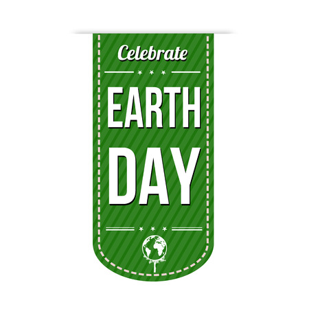Earth day green banner design over a white background, vector illustration