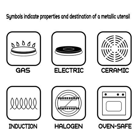 estufa: Símbolos Metálicos de mesa para el metal de calidad alimentaria en blanco, ilustración vectorial