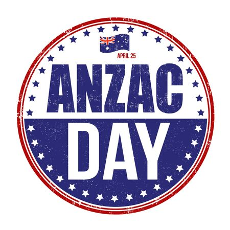 australia stamp: Anzac Day grunge rubber stamp on white background, vector illustration