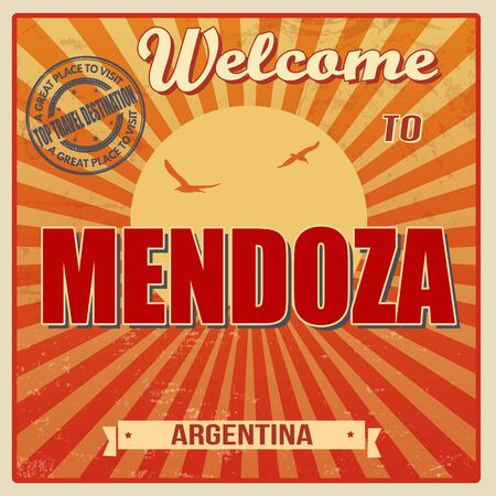 Vintage Touristic Welcome Card - Mendoza, Argentina, vector illustration Vector