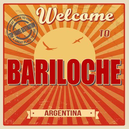 bariloche: Vintage Touristic Welcome Card - Bariloche, Argentina, vector illustration