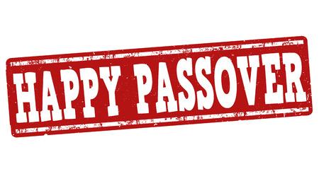 matzah: Happy Passover grunge rubber stamp on white background, vector illustration