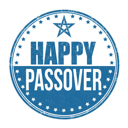 jews: Happy Passover grunge rubber stamp on white background, vector illustration