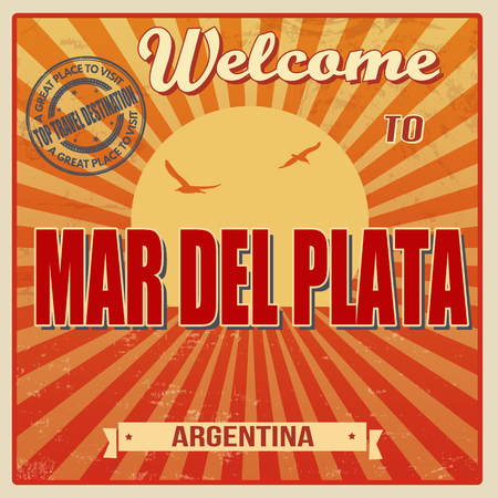 del: Vintage Touristic Welcome Card - Mar del Plata, Argentina, vector illustration Illustration