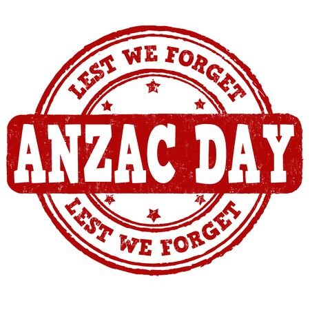 commemoration: Anzac Day grunge rubber stamp on white background, vector illustration