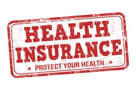 financial emergency: Health insurance grunge rubber stamp on white background, vector illustration