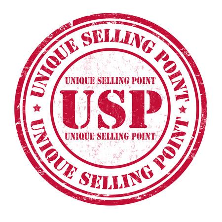 흰색 배경, 벡터 일러스트 레이 션에 고유 한 판매 시점 (USP) 그런 지 고무 스탬프 일러스트