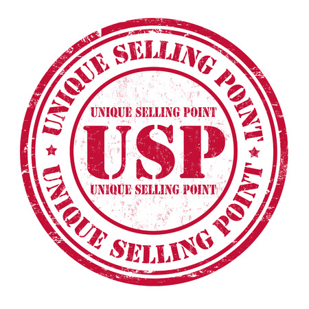 usp: Unique Selling Point (USP) grunge rubber stamp on white background, vector illustration